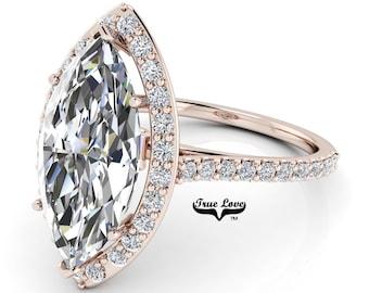 Moissanite Marquise Cut Engagement Ring Trek Quality# 1  D-E Color VVS Clarity Halo 14 kt Rose gold . #6986