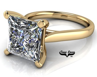 Moissanite Princess Cut Engagement Ring, Trek Quality #1 VVS Clarity D-E Colorless or G-H Near Colorless set in 14kt Yellow Gold #6777