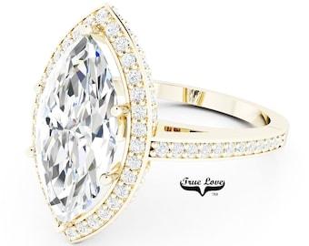 Moissanite Engagement Ring 14 kt Yellow Gold, Trek Quality #1, Wedding Ring, Halo, Side Moissanites, Marquise #7047