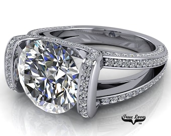 Moissanite Round Brilliant Cut Trek Quality #1 D-E Colorless or G-H Near Colorless VVS Clarity, Eng. Ring 14kt White Gold #6800