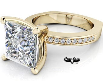 Princess Cut Moissanite Engagement Ring, Trek Quality #1 D-E colorless or G-H near colorless VVS Clarity set in 14kt Yellow Gold #7051