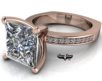 Princess Cut Moissanite Engagement Ring, Trek Quality #1 D-E colorless or G-H near colorless VVS Clarity set in 14kt Rose Gold #6971