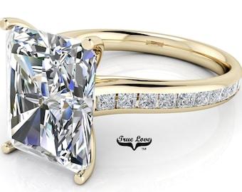 Moissanite Emerald cut Trek Quality#1 D-E Color  VVS1-2 Clarity Brand:True Love Engagement Ring 14 kt Rose Gold.#6999