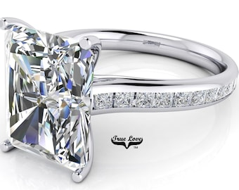 Moissanite Emerald cut Trek Quality#1 D-E Color  VVS1-2 Clarity Brand:True Love Engagement Ring 14 kt White Gold.#7081