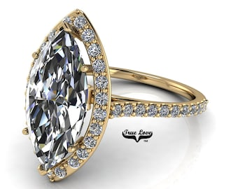 Moissanite Marquise Cut Engagement Ring Trek Quality# 1  D-E Color VVS Clarity Halo 14 kt Yellow gold . #7059