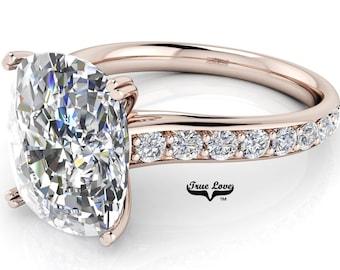 Oval Cut Moissanite Trek Quality#1 D-E Color  VVs Clarity Engagement Ring set in 14kt Rose Gold #6825