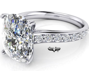 Oval Cut Moissanite Trek Quality#1 D-E Color  VVs Clarity Engagement Ring set in 14kt white Gold #6826