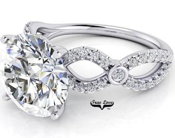 Moissanite Engagement Ring Trek Quality Number One D E  or G H Color VVS Clarity, Side Moissanites in 14 kt White gold.  #7061