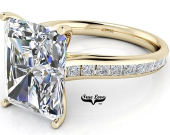 Moissanite Emerald cut Trek Quality#1 D-E Color  VVS1-2 Clarity Brand:True Love Engagement Ring 14 kt Yellow Gold.#7080