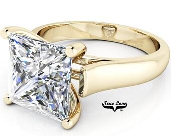 Moissanite Princess cut Trek quality #1 D-E Color VVS clarity   Brand: True Love Engagement Ring 14kt Yellow Gold Solitaire #6959
