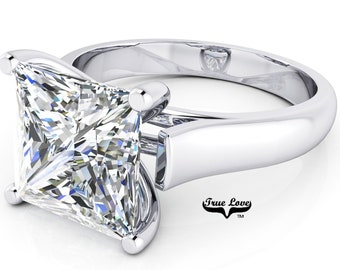 Moissanite Princess cut Trek quality #1 D-E Color VVS clarity   Brand: True Love Engagement Ring 14kt White Gold Solitaire #6938