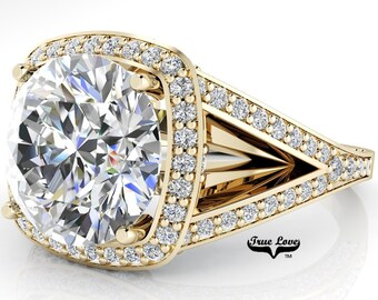 Moissanite Trek Quality #1 Engagement Ring D-E Color VVS Clarity, 14 kt Yellow Gold, Split Shank  #7100