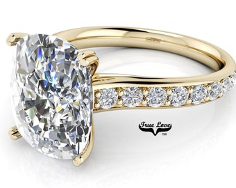 Oval Cut Moissanite Trek Quality#1 D-E Color  VVs Clarity Engagement Ring set in 14kt Yellow Gold #6827