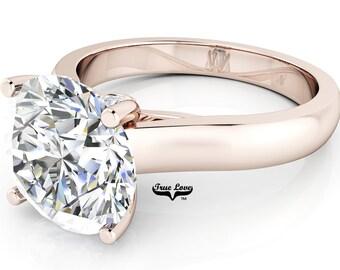Moissanite Engagement Ring 14kt Rose Gold, Trek Quality #1, Wedding Ring, Solitaire, Decorative Moissanites #6921