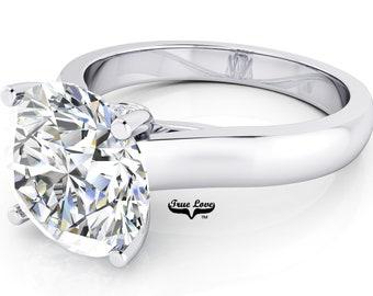 Moissanite Engagement Ring 14kt White Gold, Trek Quality #1, Wedding Ring, Solitaire, Decorative Moissanites #6939