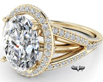 Halo Moissanite Engagement Ring Oval Cut Trek Quality #1 D-E Color VVS Clarity 14 kt Yellow Gold   #6798