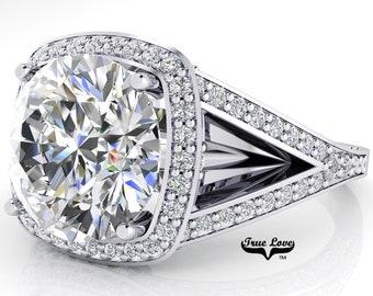 Moissanite Trek Quality #1 Engagement Ring D-E Color VVS Clarity, 14 kt White Gold, Split Shank  #7101