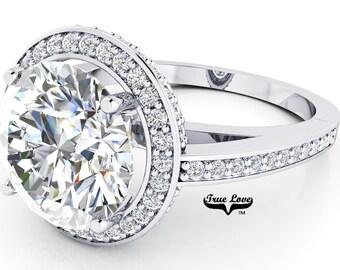 Moissanite Engagement Ring 14kt White Gold, Trek Quality #1, Wedding Ring, Halo, Side Moissanites #6957
