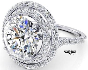 Moissanite Double Halo Engagement Ring 14 kt White Gold, Trek Quality #1, with side Moissanites #7077