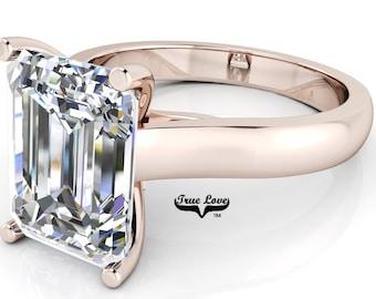 Moissanite Emerald cut Trek Quality#1 D-E Color  VVS1-2 Clarity Brand:True Love Engagement Ring 14 kt Rose Gold.#6968