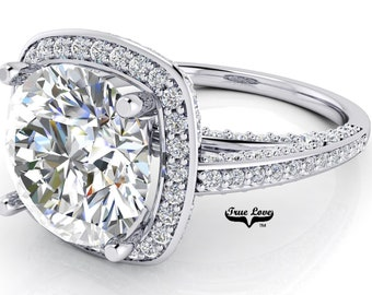 Moissanite Engagement Ring Trek Quality #1 D-E Color VVS Clarity Halo with Side Moissanites Brand: True Love 14kt White Gold #7102