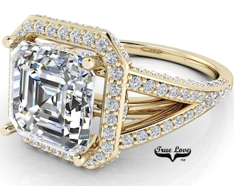 Moissanite Asscher Cut Engagement Ring Trek #1 D-E Color VVS Clarity, With 150 Halo and side Moissanites 14 kt. Yellow Gold  #7105