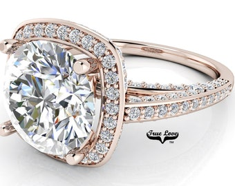 Moissanite Engagement Ring Trek Quality #1 D-E Color VVS Clarity Halo with Side Moissanites Brand: True Love 14kt Rose Gold #6754