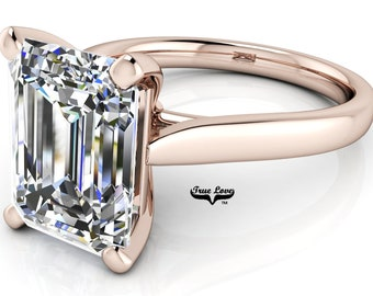 Moissanite Engagement Ring Trek Quality #1 Emerald Cut 14 kt. Rose Gold #6982