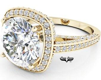Moissanite Engagement Ring 14kt Yellow Gold, Trek Quality #1, Wedding Ring, Square Halo, Side Moissanites #6966