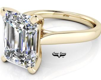 Moissanite Engagement Ring Trek Quality #1 Emerald Cut 14 kt. Yellow Gold #7018