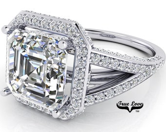 Moissanite Asscher Cut Engagement Ring Trek #1 D-E Color VVS Clarity, With 150 Halo and side Moissanites 14 kt. White Gold  #7104