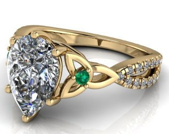 custom Order for robert Lay away payment #2 of 4 Pear shape Moissanite engagement ring 14 kt Yellow Gold #18358
