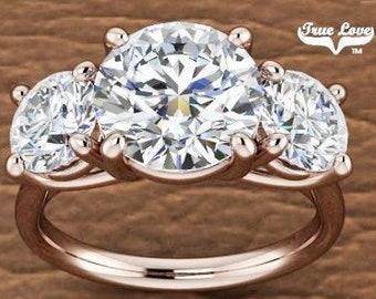 Three Stone Moissanite Engagement Ring Wedding Ring, Past Present Future #7002