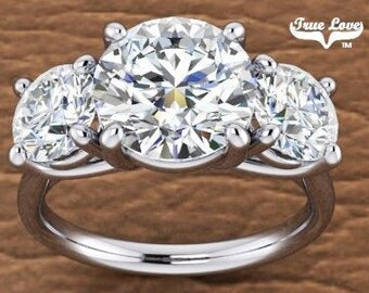Three Stone Moissanite Platinum Engagement Ring Wedding Ring, Past Present Future #7036P