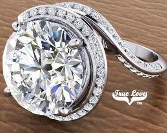 Moissanite Engagement Ring 14 kt White Gold, Trek Quality #1, Wedding Ring, Halo, Side Moissanites #7082
