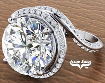Moissanite Engagement Ring Platinum, Trek Quality #1, Wedding Ring, Halo, Side Moissanites #7082P