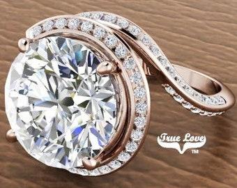 Moissanite Engagement Ring 14 kt Rose Gold, Trek Quality #1, Wedding Ring, Halo, Side Moissanites #6973