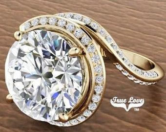 Moissanite Engagement Ring 14kt Yellow Gold, Trek Quality #1, Wedding Ring, Halo, Side Moissanites #7083