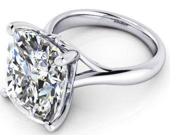 Cushion Cut 8.25 carat 13 x 11 mm Trek Quality #1 Moissanite Engagement Ring 14kt White Gold,  Solitaire #8410