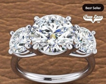 Three Stone Moissanite Engagement Ring Wedding Ring, Past Present Future #7036