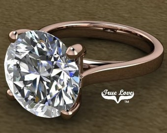 Moissanite Engagement Ring Trek Quality #1 D-E Colorless VVS Clarity 1,1.25,1.50,2,3,4,5 or 6 Carat Round Solitaire  14 kt Rose Gold. #7003