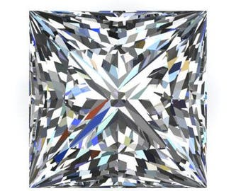 1 to 9 Carat Loose Moissanite Princess Cut Trek Quality #1 D-E Colorless  or G-H Near Colorless VVS Clarity list Sizes listed #8343