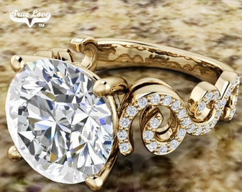Moissanite Engagement Ring Accented Stones Trek Quality #1, Wedding Ring, 14 kt Yellow Gold #7048
