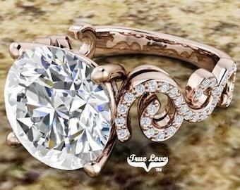 Moissanite Engagement Ring Accented Stones  Trek Quality #1, Wedding Ring, 14 kt Rose Gold #6976