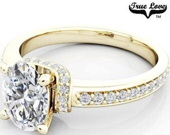14 kt. Yellow Gold  Solitaire 1.32 Carat 8 X 6 Oval Forever Brilliant Cut Moissanite with side And Accent Moissanites Engagement Ring #6832