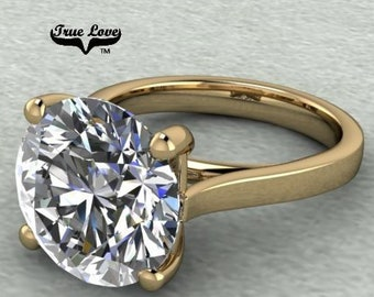 Moissanite Engagement Ring Trek Quality #1 D-E Colorless VVS Clarity 1,1.25,1.50,2,3,4,5 or 6 Carat Round Solitaire 14 kt Yellow Gold. #7027