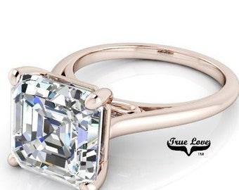 1.25 up to 6 Carat Asscher Cut Moissanite Trek quality #1  VVS Clarity D E Colorless ,14 kt Rose Gold, side stones #8408