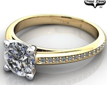 Moissanite Engagement Ring 14kt Yellow Gold, Trek Quality #1, Wedding Ring, Side Moissanites #7026