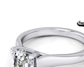 Moissanite Engagement Ring  Asscher Cut  Trek Quality #1 from .80 to 1.75 Carat  Asscher Cut ,14 kt White Gold  #6891