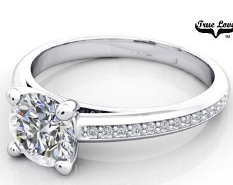 Moissanite Engagement Ring 14kt White Gold, Forever One, Wedding Ring, Side Diamonds #7025